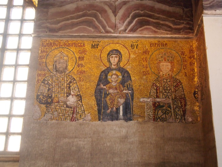 The beautiful Christian mosaics in the upper balcony