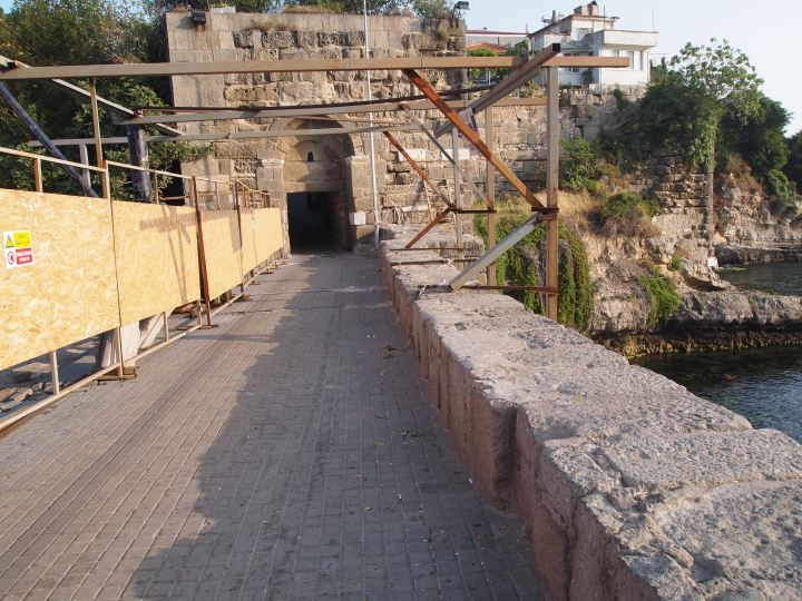 The Roman Bridge under renovation