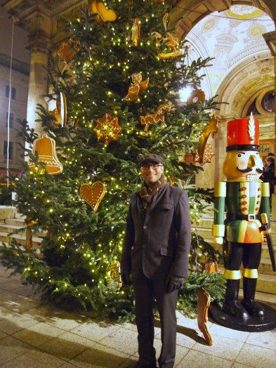 In front of the Nutcracker tree