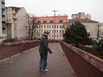 Walking toward the city centre