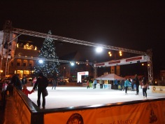 Ice skating in front of the National Theatre