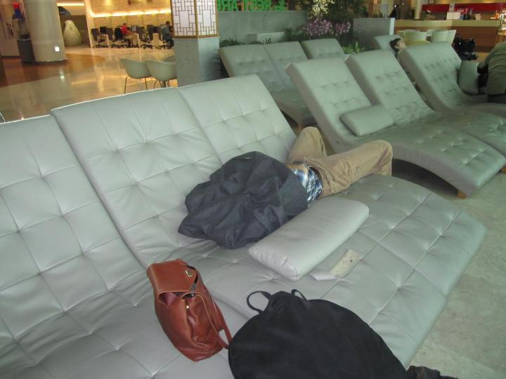 Zach sleeping in Seoul