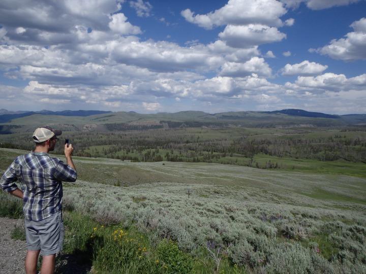 Zach surveying the land