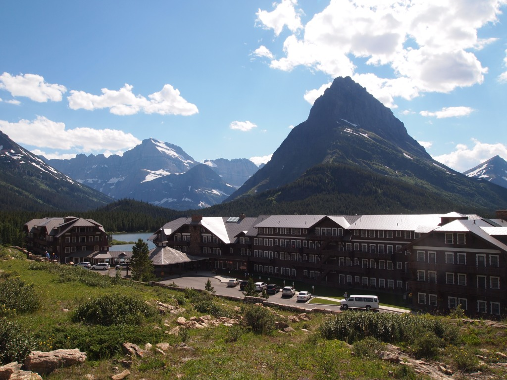 Many Glacier Hotel in a very picturesque setting