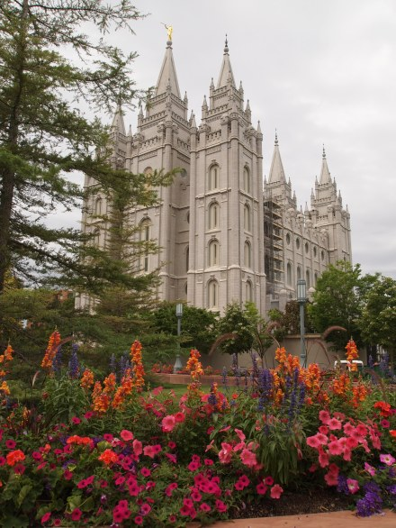 Beautiful landscaping around Temple Square