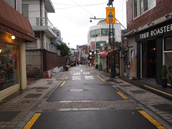 One of the main streets - it was lined with shops and eateries