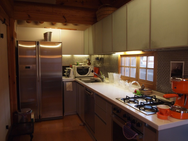 A very modern kitchen inside