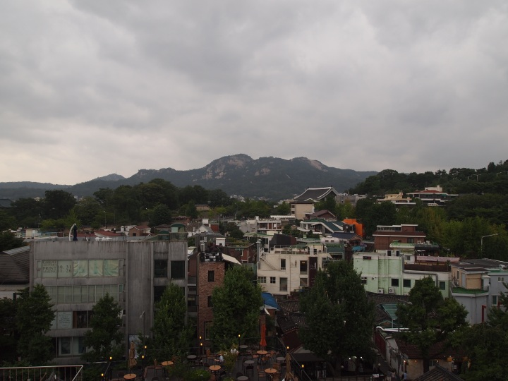 A nice view of the mountains around Seoul
