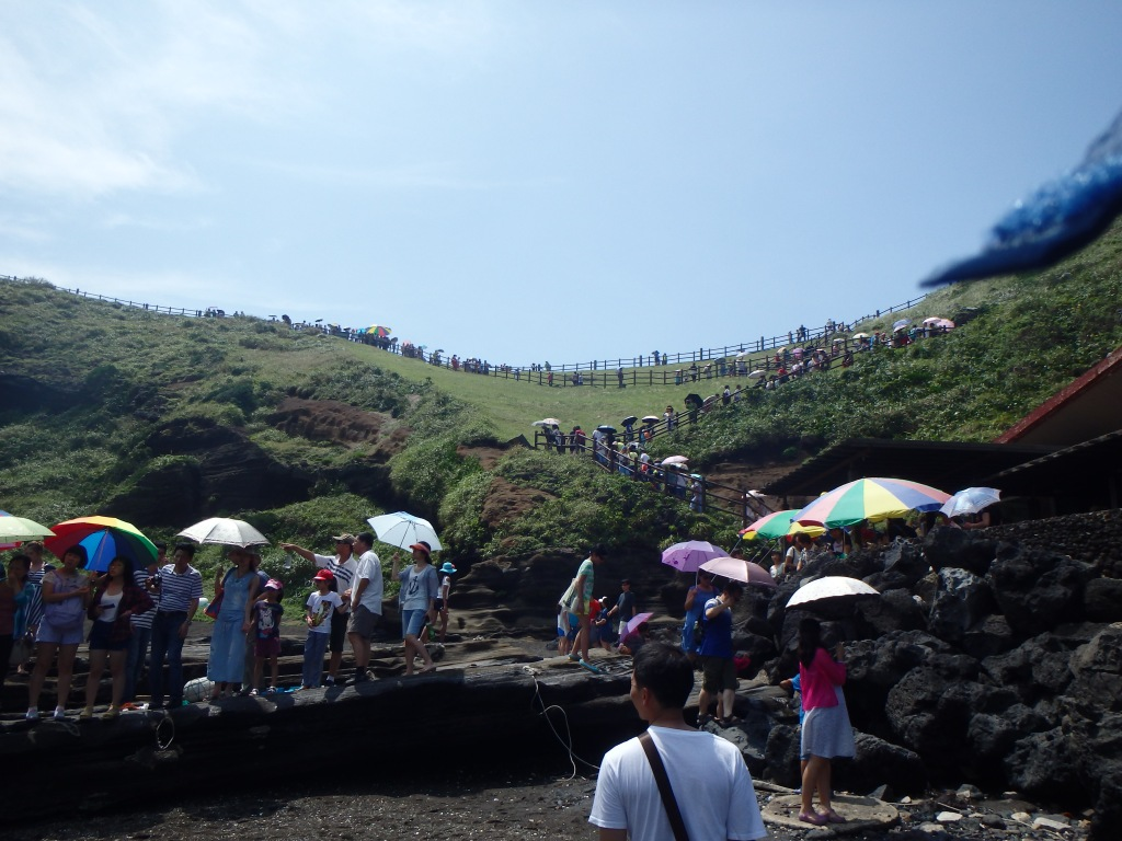 Tourists were lined all the way up the hill!