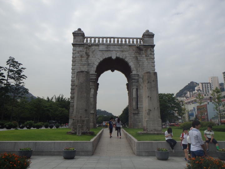 Independence Gate with remains of Yeongeunmun Gate in front