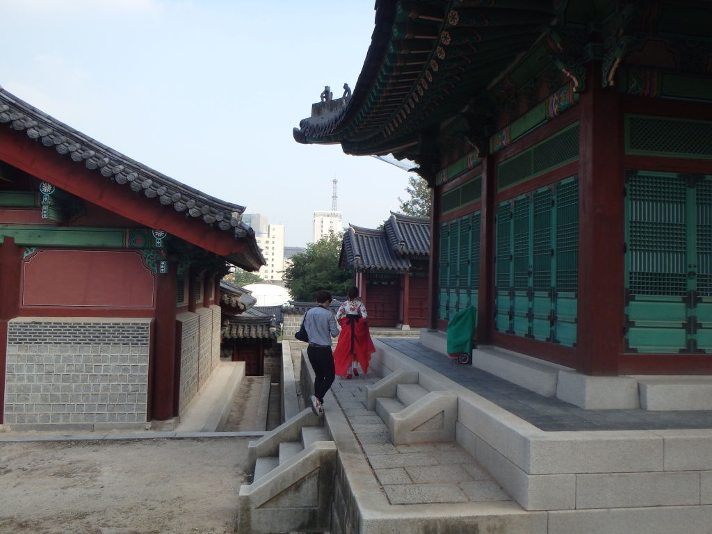 We saw a girl dressed in a traditional hanbok