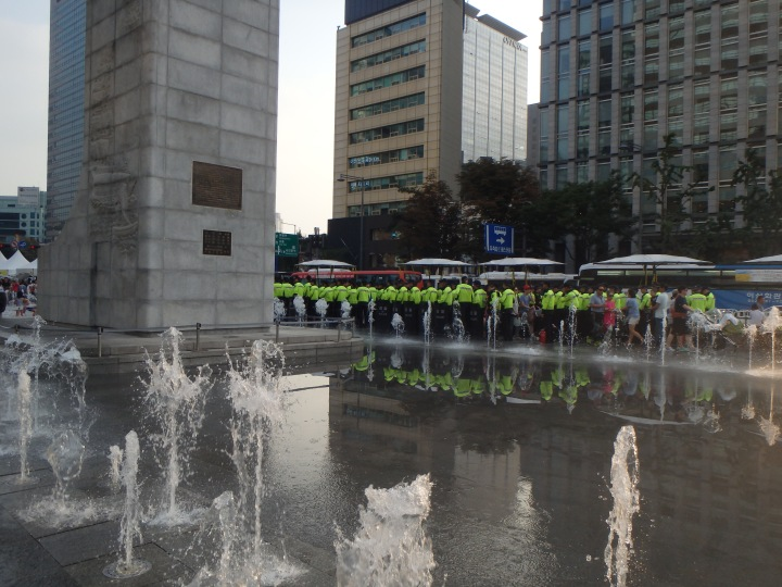 Those are police officers - a lot of them
