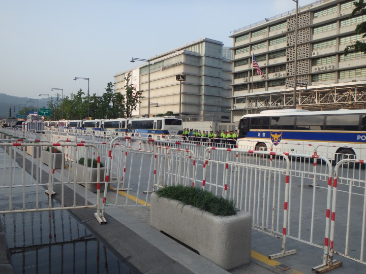 Barricades set up in preparation for the Pope's Beatification Mass today (Sat.)