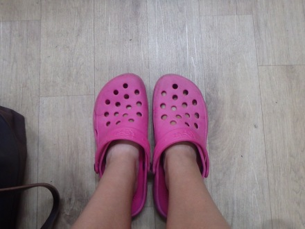 First time to wear Croc-like footwear