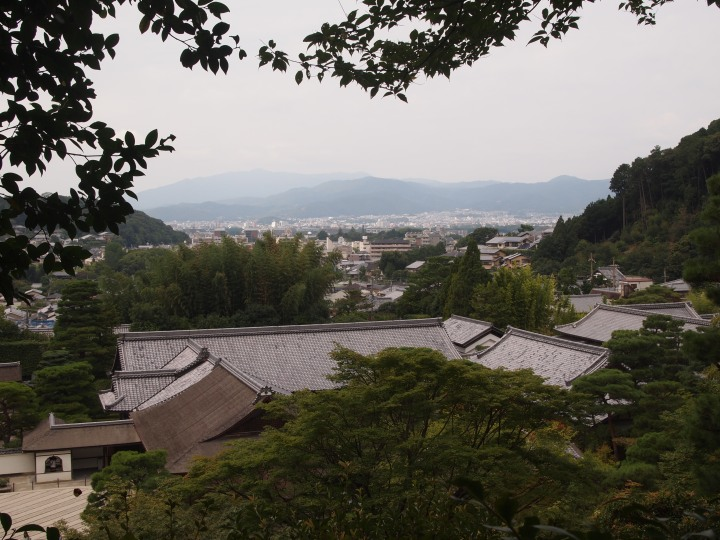If you walk up the path into the moss garden there's a lovely view of Kyoto