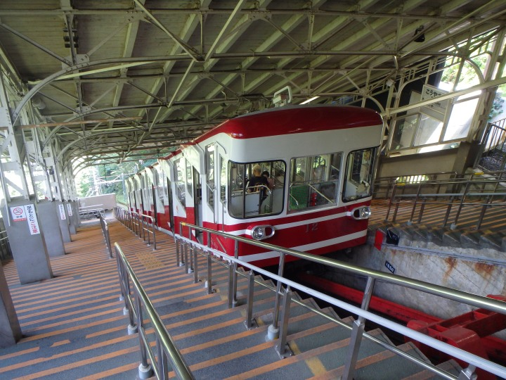 Taking the cable car down from Koya