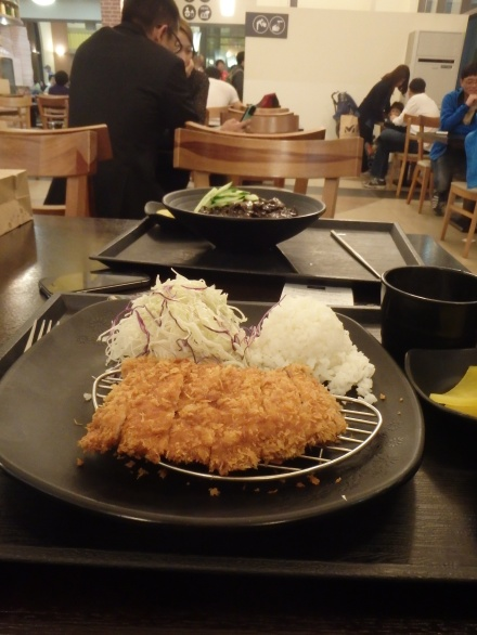 Our dinner - I had donkkaseu, a fried pork cutlet, and Zach had jjajangmyeon, a noodle dish with a thick black bean sauce
