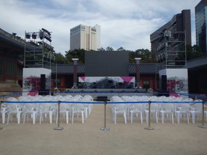 Set up for a performance