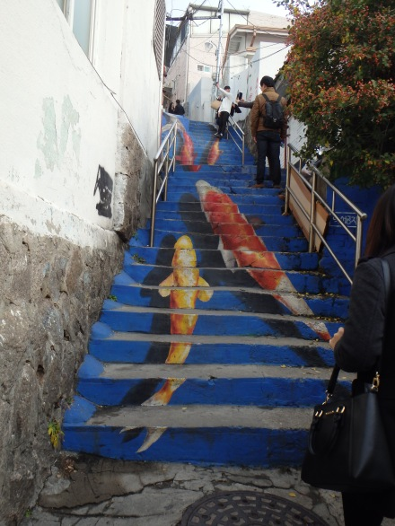 This is one of the more popular attractions - koi staircase