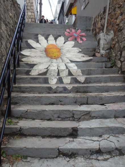 The daisy stairs - another popular photo op