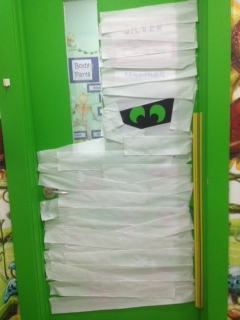 I did a mummy door that was promptly destroyed