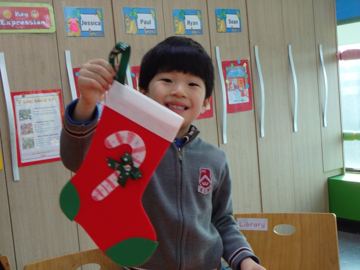 Jin with his stocking