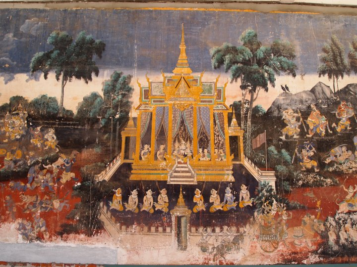 Murals of the classic Indian epic, Ramayana (Reamker in Cambodia)