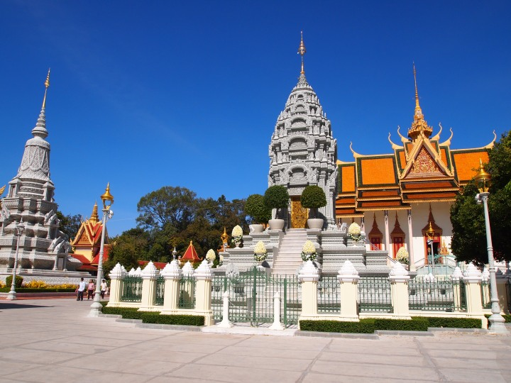 Silver Pagoda in the background with other stupas