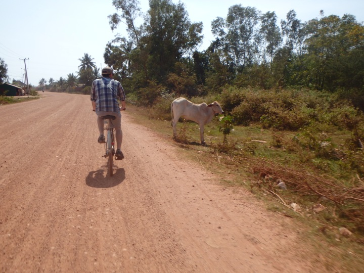 Riding down the dirt road from our guest house