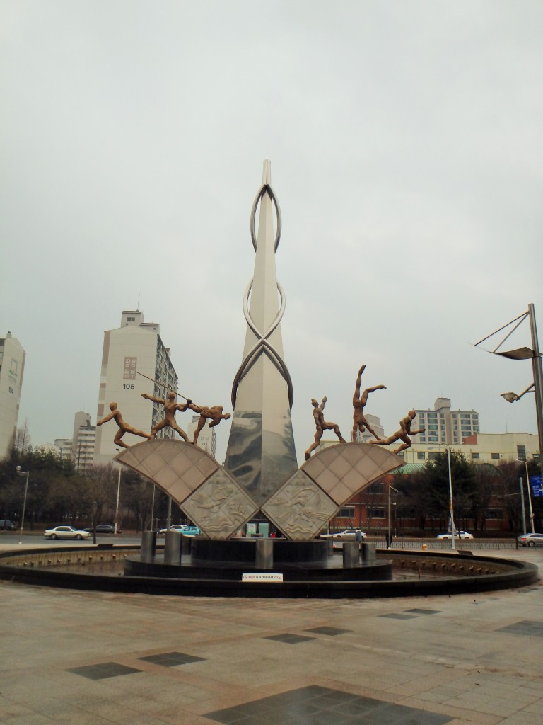 a statue at the sports complex