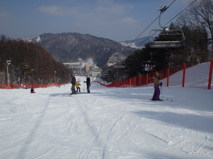 At the top of the lift we thought we should go down this hill... turns out we shouldn't have