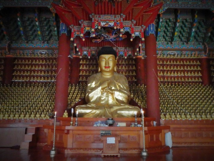 The giant Buddha surrounded by smaller golden Buddhas