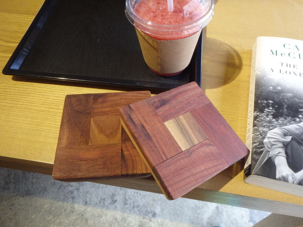 Handmade coasters, a strawberry smoothie, and a good book