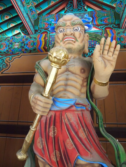 This is one of the Vajrapanis in the gate. He represents the power of all the Buddhas
