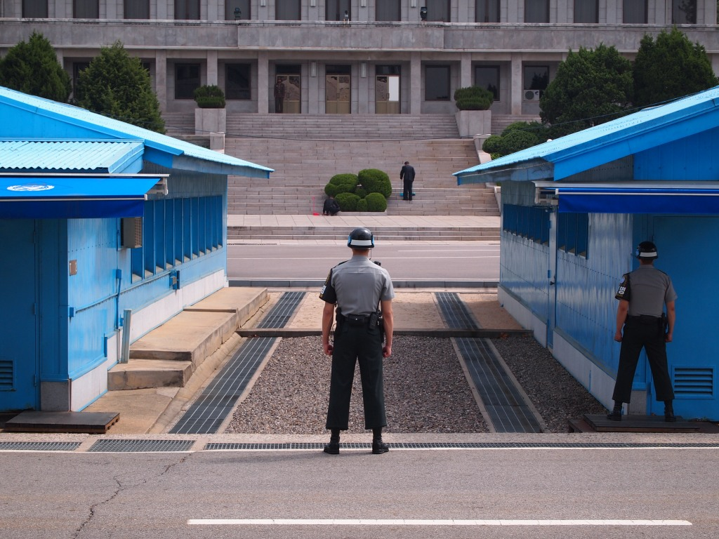 The ROK soldiers only stand here when there are tour groups