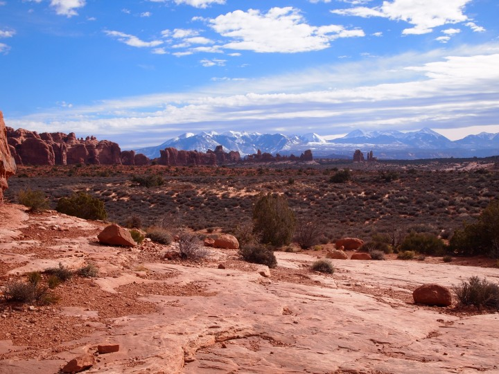 Great view of The Windows and La Sal Mtns.