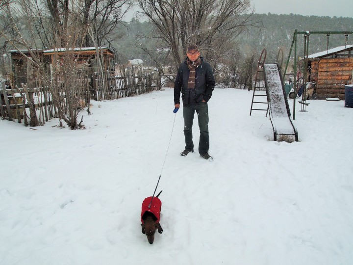 Experiencing the snow on our first morning