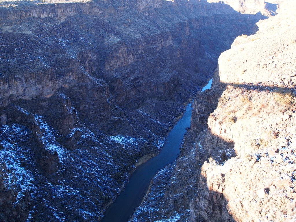 Looking from the bridge down into the gorge