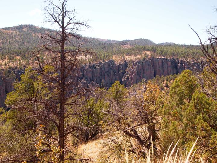 The cliffs mark the West Fork of the Gila River