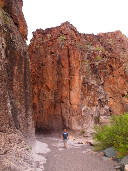 Zach's dad standing at the mouth of the canyon