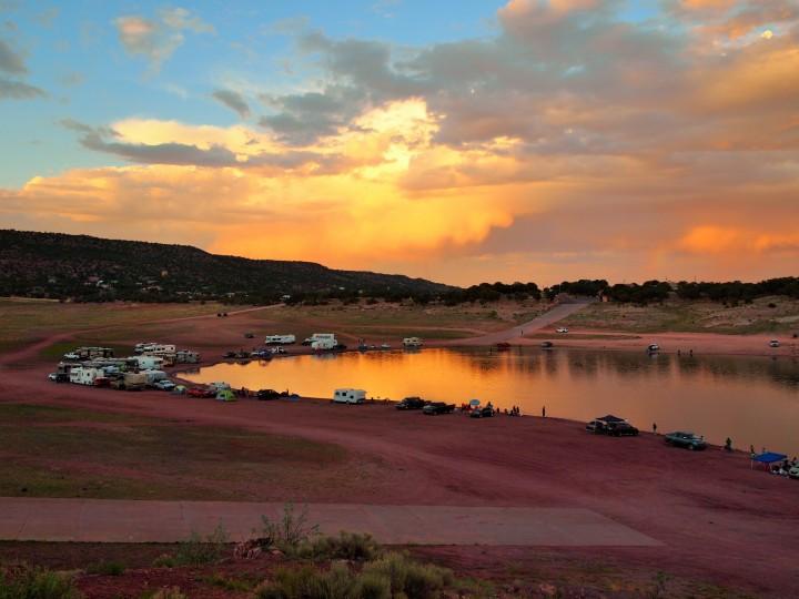 Primitive camping around the lake
