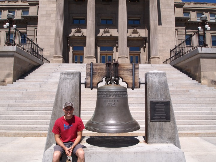 Zach with replica Liberty Bell