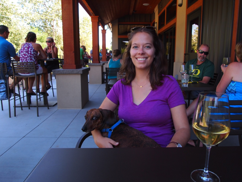 Enjoying a glass of wine with my attack dog