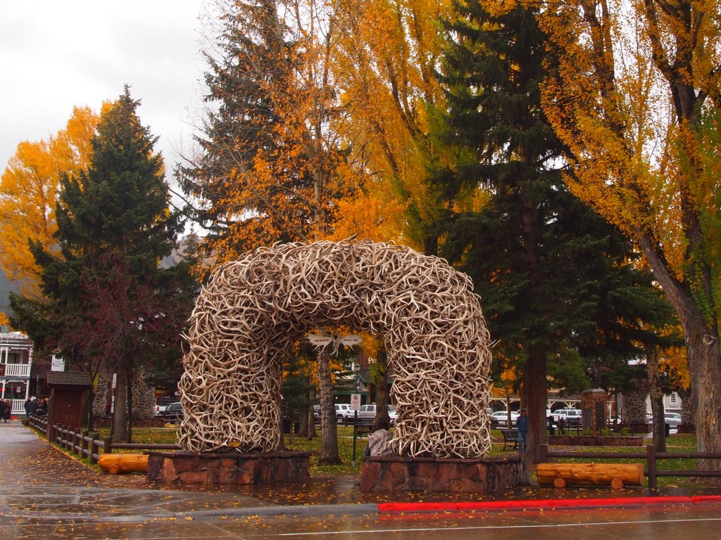The iconic antler arches of Jackson's Town Square