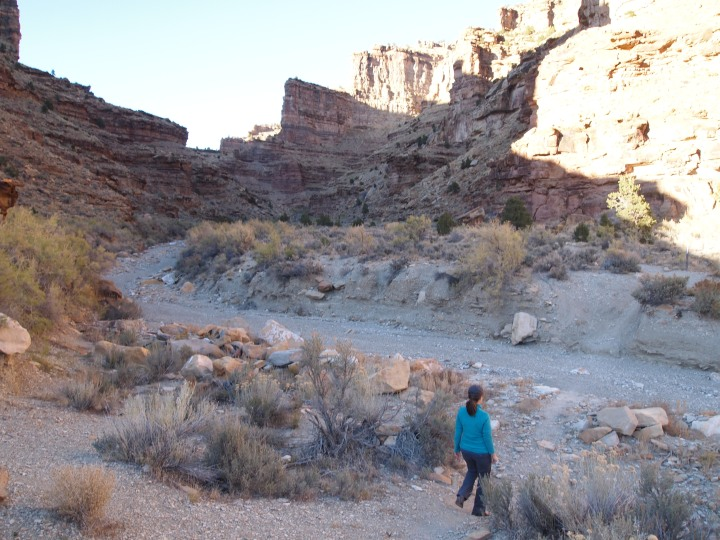 Crossing a dry creek-bed